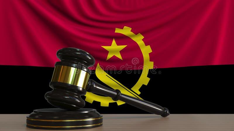 Il martelletto ed il blocchetto del giudice contro la bandiera dell'Angola Rappresentazione concettuale 3D della corte dell'Angol illustrazione di stock