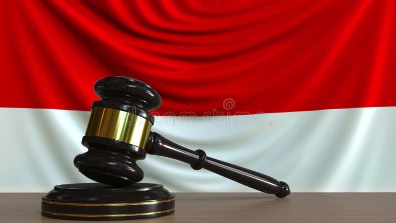 Il martelletto ed il blocchetto del giudice contro la bandiera dell'Indonesia Rappresentazione concettuale 3D della corte indones illustrazione vettoriale