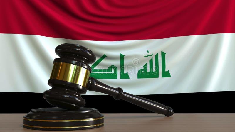 Il martelletto ed il blocchetto del giudice contro la bandiera dell'Irak Rappresentazione concettuale 3D della corte irachena illustrazione di stock