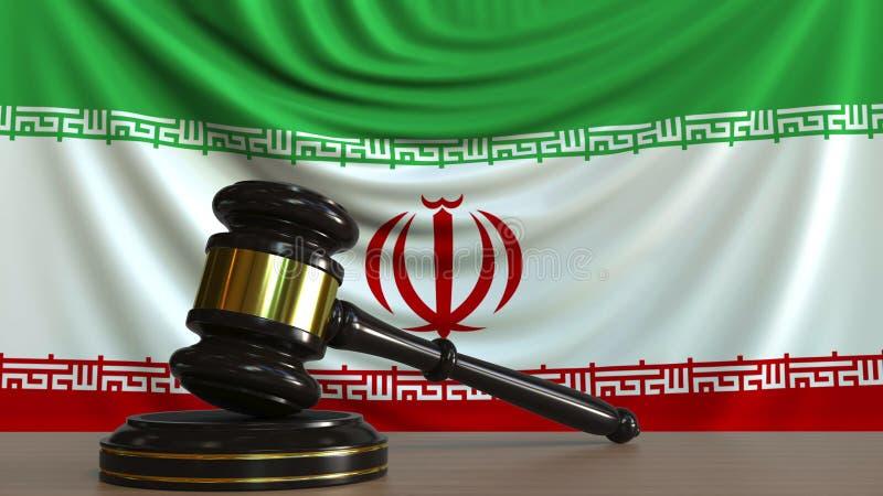 Il martelletto ed il blocchetto del giudice contro la bandiera dell'Iran Rappresentazione concettuale 3D della corte iraniana illustrazione di stock