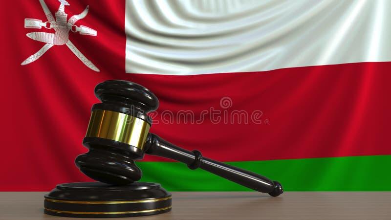 Il martelletto ed il blocchetto del giudice contro la bandiera dell'Oman Rappresentazione concettuale 3D della corte dell'Oman illustrazione di stock