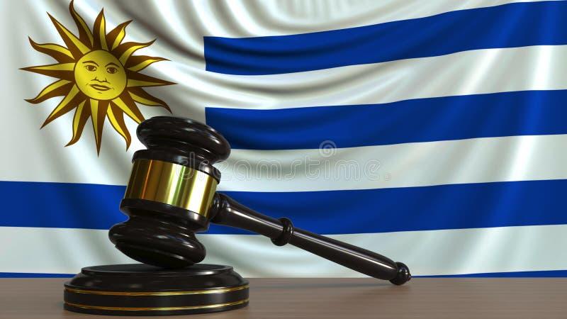 Il martelletto ed il blocchetto del giudice contro la bandiera dell'Uruguay Rappresentazione concettuale 3D della corte uruguaian royalty illustrazione gratis