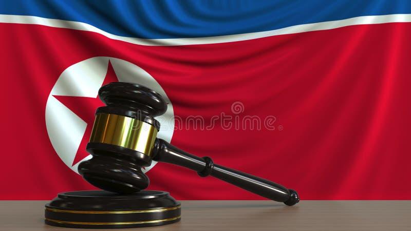 Il martelletto ed il blocchetto del giudice contro la bandiera della Corea del Nord Rappresentazione concettuale 3D della corte illustrazione vettoriale