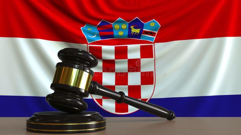 Il martelletto ed il blocchetto del giudice contro la bandiera della Croazia Rappresentazione concettuale 3D della corte croata illustrazione di stock