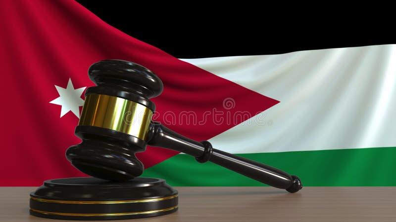 Il martelletto ed il blocchetto del giudice contro la bandiera della Giordania Rappresentazione concettuale 3D della corte giorda royalty illustrazione gratis