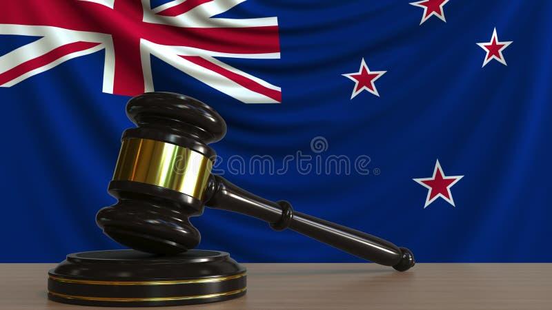 Il martelletto ed il blocchetto del giudice contro la bandiera della Nuova Zelanda Rappresentazione concettuale 3D della corte illustrazione di stock