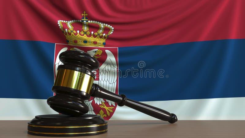 Il martelletto ed il blocchetto del giudice contro la bandiera della Serbia Rappresentazione concettuale 3D della corte serba illustrazione di stock
