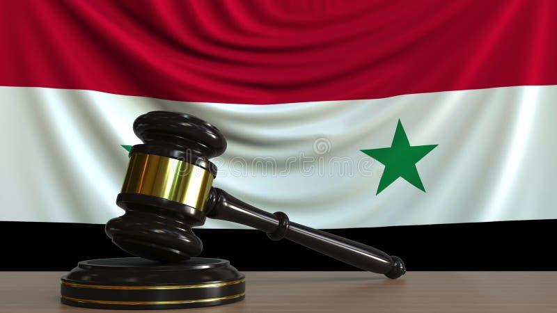 Il martelletto ed il blocchetto del giudice contro la bandiera della Siria Rappresentazione concettuale 3D della corte siriana illustrazione di stock