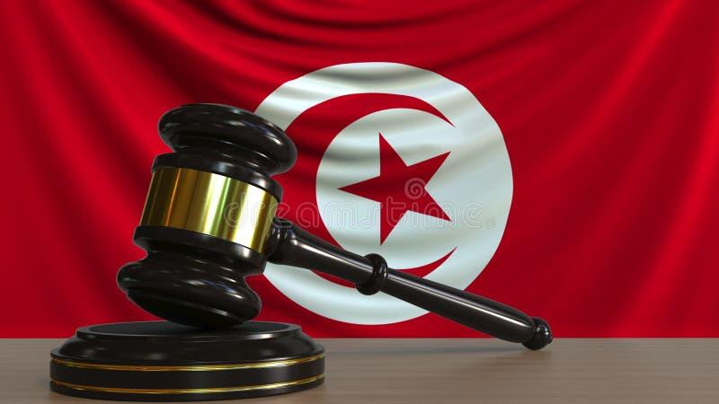 Il martelletto ed il blocchetto del giudice contro la bandiera della Tunisia Rappresentazione concettuale 3D della corte tunisina royalty illustrazione gratis