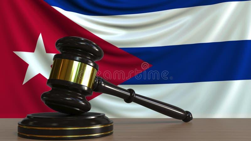 Il martelletto ed il blocchetto del giudice contro la bandiera di Cuba Rappresentazione concettuale 3D della corte cubana illustrazione di stock