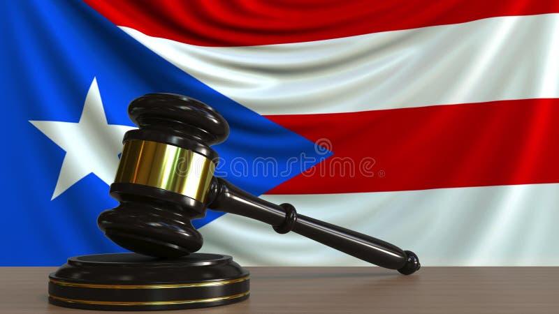 Il martelletto ed il blocchetto del giudice contro la bandiera di Puerto Rico Rappresentazione concettuale 3D della corte royalty illustrazione gratis