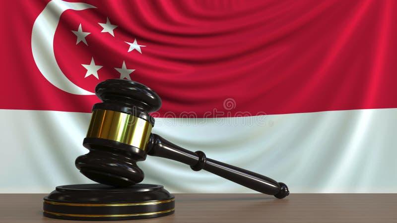 Il martelletto ed il blocchetto del giudice contro la bandiera di Singapore Rappresentazione concettuale 3D della corte di Singap illustrazione vettoriale