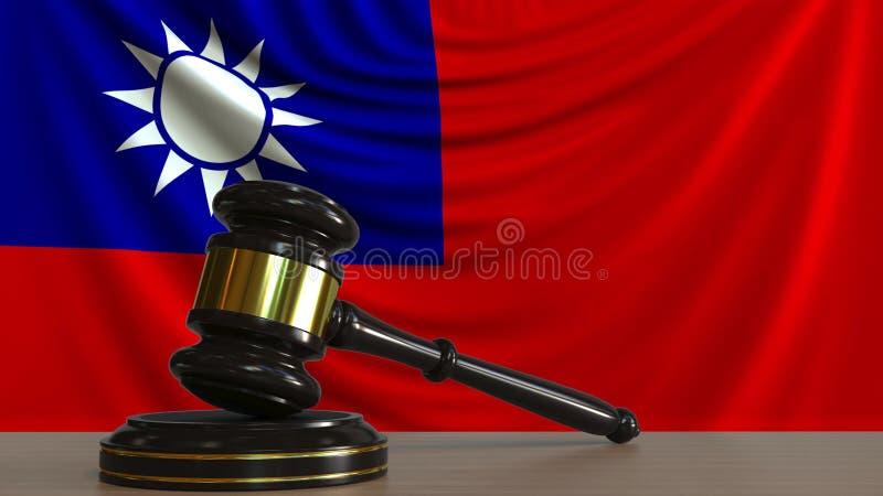 Il martelletto ed il blocchetto del giudice contro la bandiera di Taiwan Rappresentazione concettuale 3D della corte di Taiwan royalty illustrazione gratis