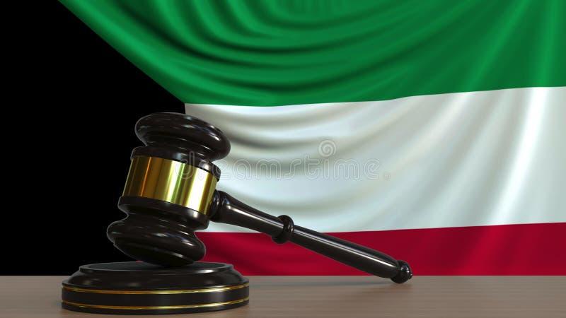 Il martelletto ed il blocchetto del giudice contro la bandiera del Kuwait Rappresentazione concettuale 3D della corte kuwaitiana illustrazione di stock