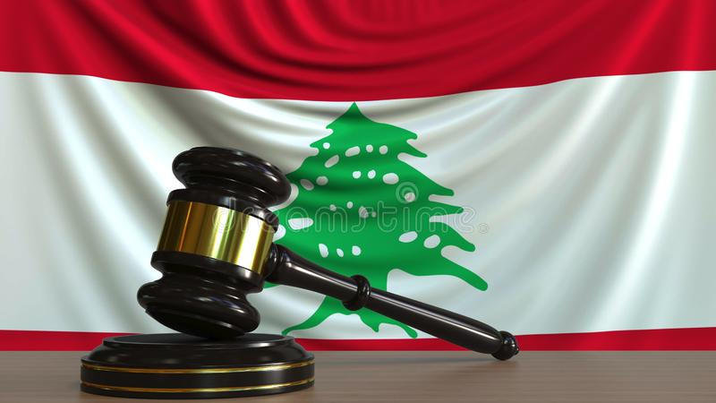 Il martelletto ed il blocchetto del giudice contro la bandiera del Libano Rappresentazione concettuale 3D della corte libanese illustrazione vettoriale