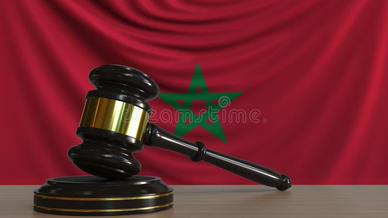 Il martelletto ed il blocchetto del giudice contro la bandiera del Marocco Rappresentazione concettuale 3D della corte marocchina royalty illustrazione gratis