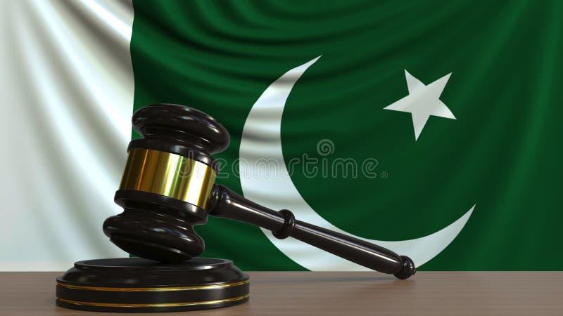 Il martelletto ed il blocchetto del giudice contro la bandiera del Pakistan Rappresentazione concettuale 3D della corte pakistana illustrazione di stock