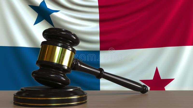 Il martelletto ed il blocchetto del giudice contro la bandiera del Panama Rappresentazione concettuale 3D della corte di Panamian illustrazione di stock
