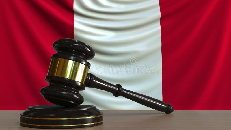 Il martelletto ed il blocchetto del giudice contro la bandiera del Perù Rappresentazione concettuale 3D della corte peruviana illustrazione di stock