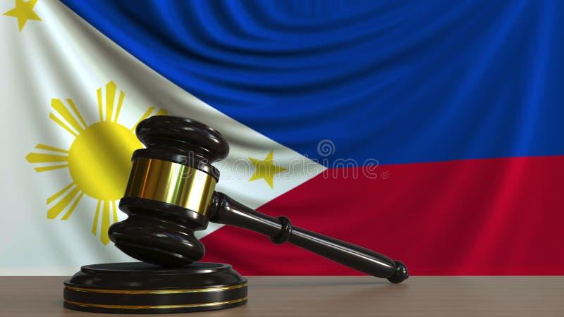 Il martelletto ed il blocchetto del giudice contro la bandiera del Phippines Rappresentazione concettuale 3D della corte royalty illustrazione gratis