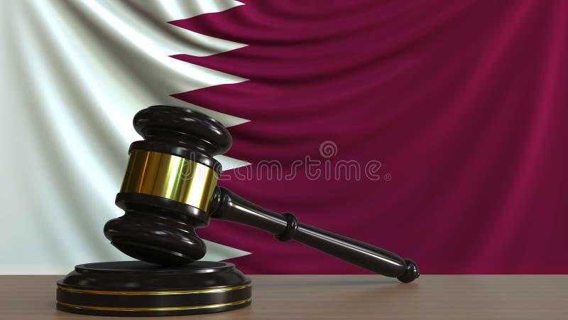 Il martelletto ed il blocchetto del giudice contro la bandiera del Qatar Rappresentazione concettuale 3D della corte di Qatari illustrazione vettoriale