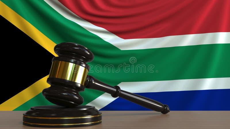 Il martelletto ed il blocchetto del giudice contro la bandiera del Sudafrica Rappresentazione concettuale 3D della corte illustrazione di stock