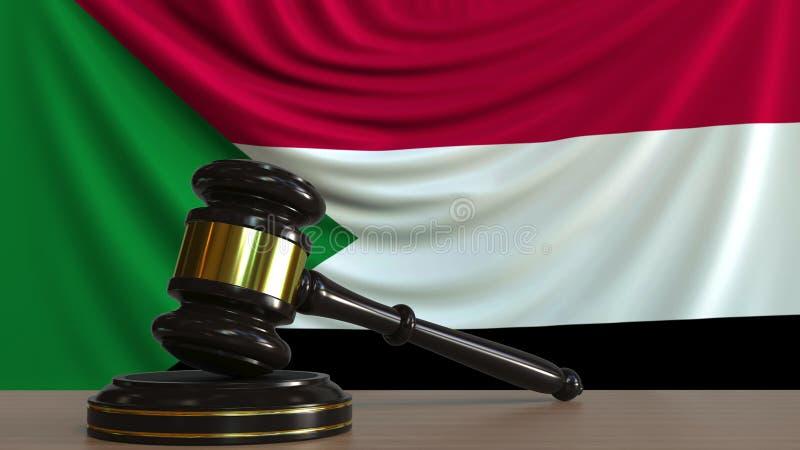 Il martelletto ed il blocchetto del giudice contro la bandiera del Sudan Rappresentazione concettuale 3D della corte sudanese illustrazione vettoriale
