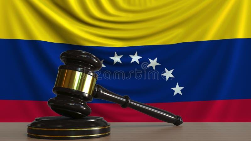 Il martelletto ed il blocchetto del giudice contro la bandiera del Venezuela Rappresentazione concettuale 3D della corte venezuel illustrazione vettoriale