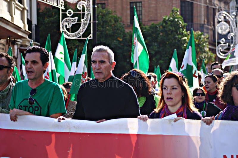 Il marzo di dignità una protesta 40 - unionista Cañamero fotografie stock