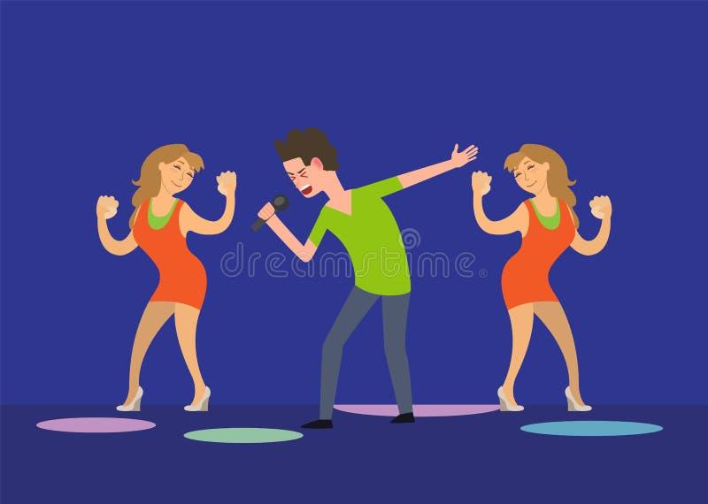 Il maschio Cantante e le ragazze ballanti smazzano i ballerini in club illustrazione di stock