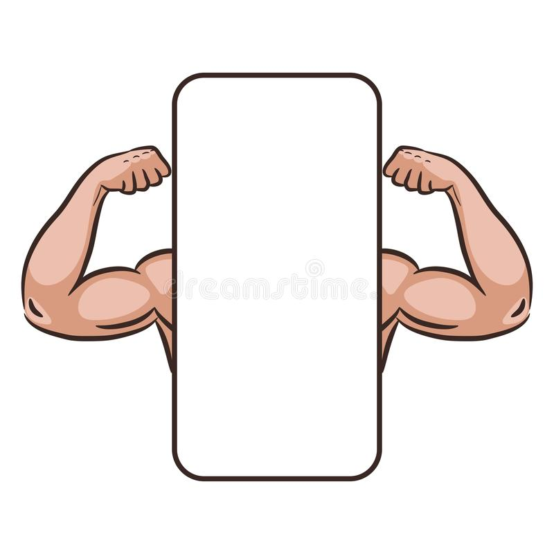 Il maschio del muscolo arma il modello mobile dell'insegna di vettore di app illustrazione vettoriale