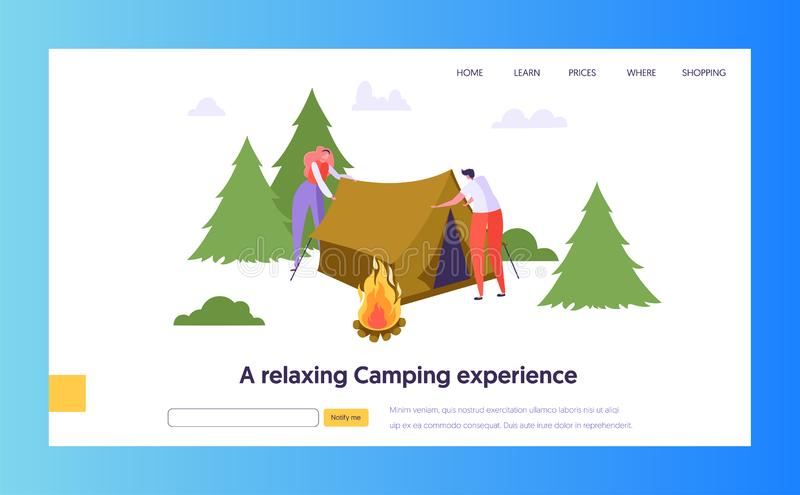 Il maschio ed il carattere femminile raccolgono la tenda vicino al falò in Forest Landing Page Concetto all'aperto di viaggio di  royalty illustrazione gratis