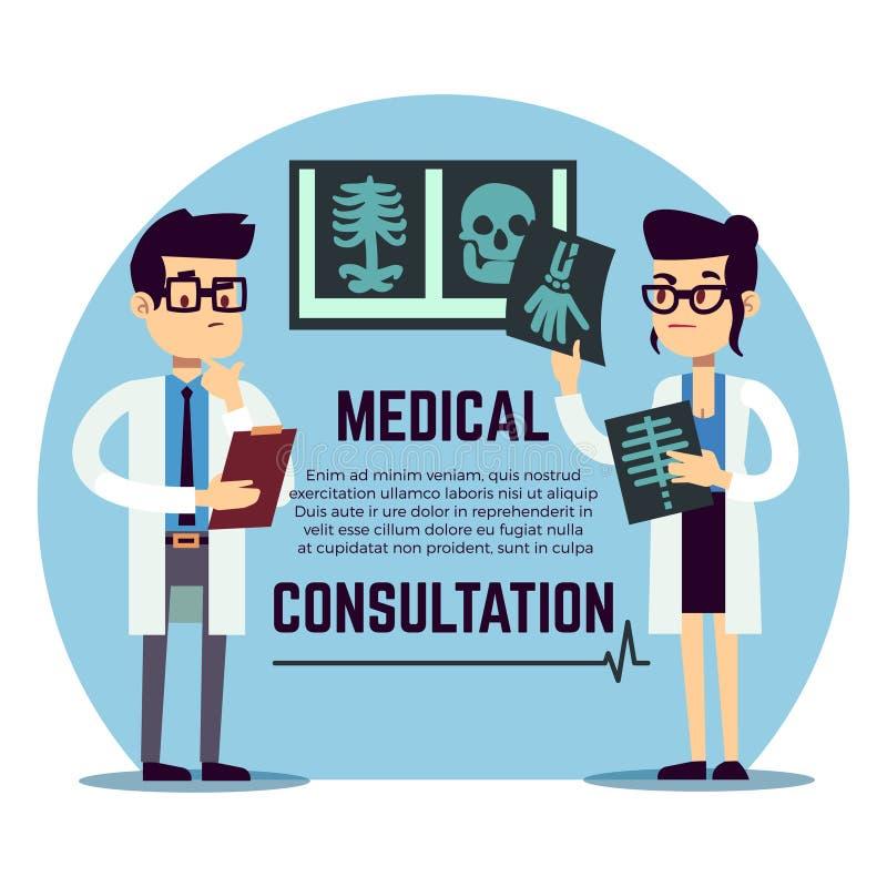 Il maschio ed il giovane femminile aggiusta la diagnosi - visita medica illustrazione vettoriale