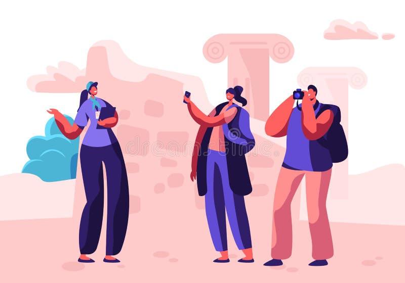 Il maschio ed i caratteri turistici femminili visitano fare un giro turistico con la guida che fa le immagini sulla macchina foto royalty illustrazione gratis