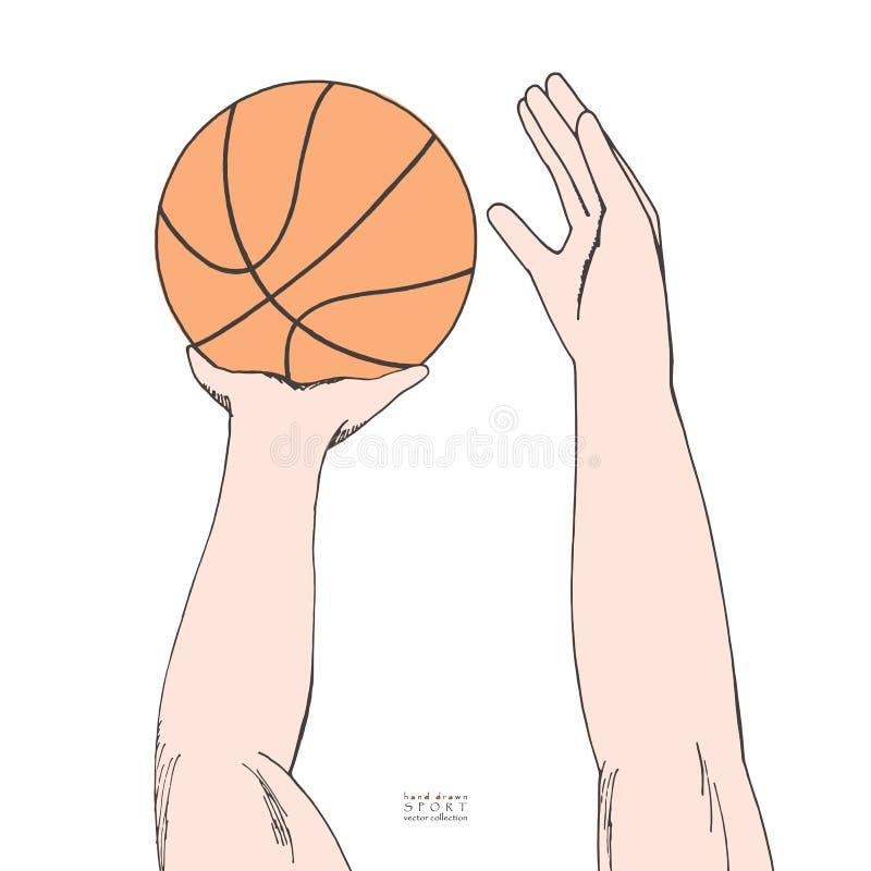 Il maschio passa la tenuta e la preparazione gettare la pallacanestro in un cerchio Schizzo colorato disegnato a mano Isolato su  illustrazione vettoriale