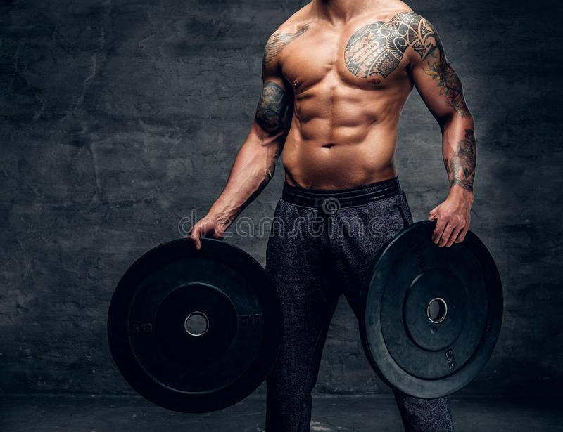 Il maschio senza camicia e tatuato muscolare rimanda i pesi del bilanciere immagini stock libere da diritti