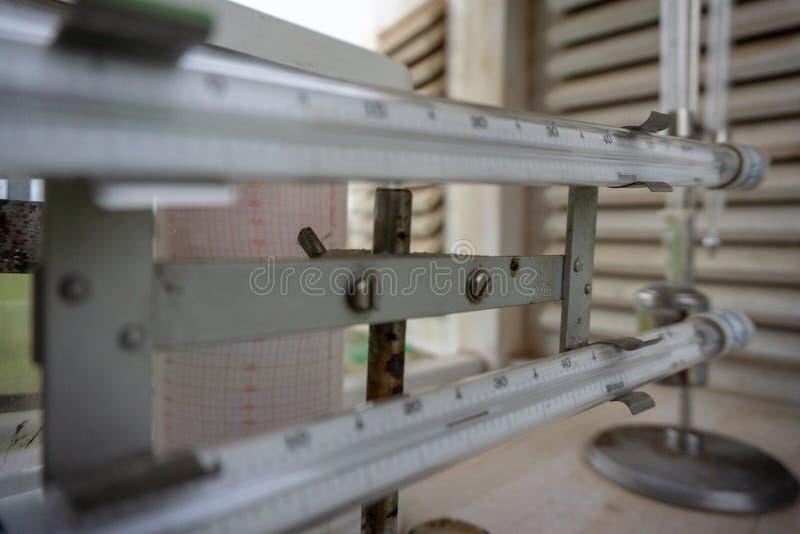 Il massimo ed il termometro a minima hanno messo sopra la gabbia meteorologica fotografie stock