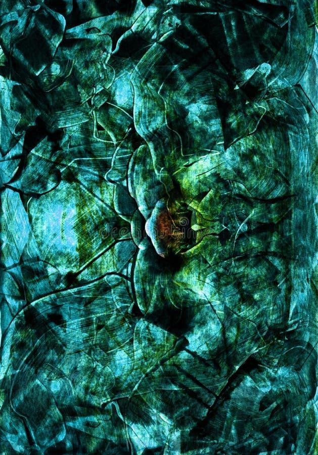 Il materiale illustrativo astratto disegnato a mano in acrilico ed in acquerello dipinge lo stile con lo smeraldo, il turchese, s fotografie stock libere da diritti