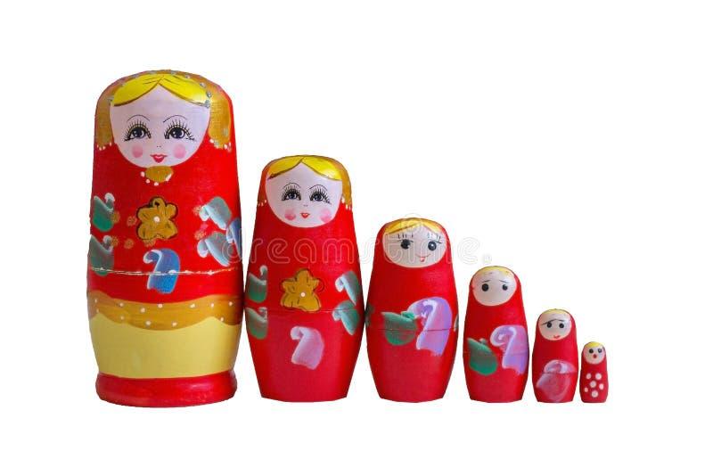 Il matryoshka variopinto è il simbolo della Russia si è allineato da maggior a di meno fotografia stock