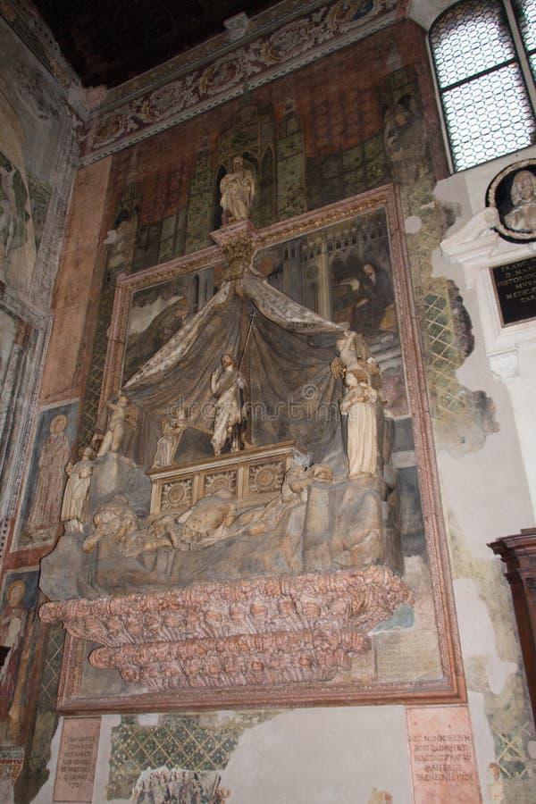 Il mausoleo di Brenzoni in chiesa superiore San Fermo Maggiore, Verona, Italia immagine stock