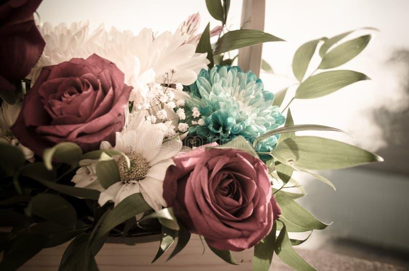 Il mazzo delle rose si chiude in su Priorità bassa vaga Fuoco selettivo Fondo floreale della cartolina d'auguri o del modello Maz fotografia stock