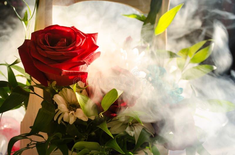 Il mazzo delle rose si chiude in su Priorità bassa vaga Fuoco selettivo Fondo floreale della cartolina d'auguri o del modello Maz fotografia stock libera da diritti