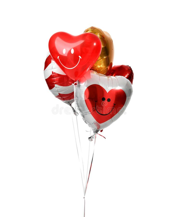Il mazzo di grande cuore rosso bianco dell'oro e dell'argento balloons gli oggetti fotografia stock