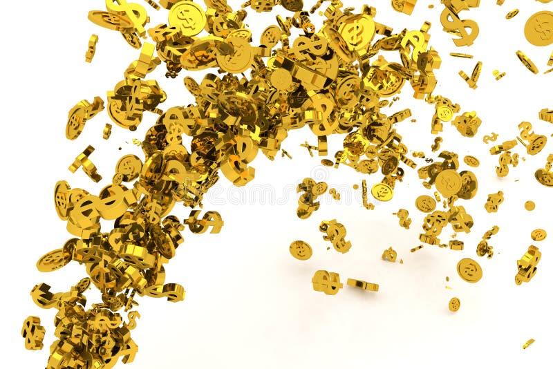 Il mazzo di soldi, l'oro, il simbolo di dollaro o le monete scorrono dal pavimento, dai precedenti moderni di stile o dalla strut illustrazione vettoriale