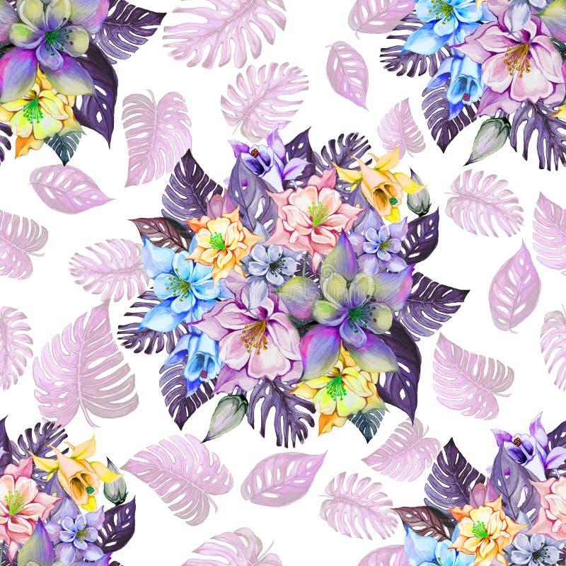 Il mazzo rotondo di bello fiori di colombina o aquilegia e monstera esotico va su fondo bianco royalty illustrazione gratis