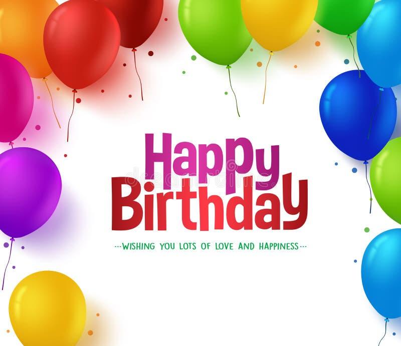 il mazzo variopinto realistico 3d di buon compleanno Balloons il fondo illustrazione vettoriale