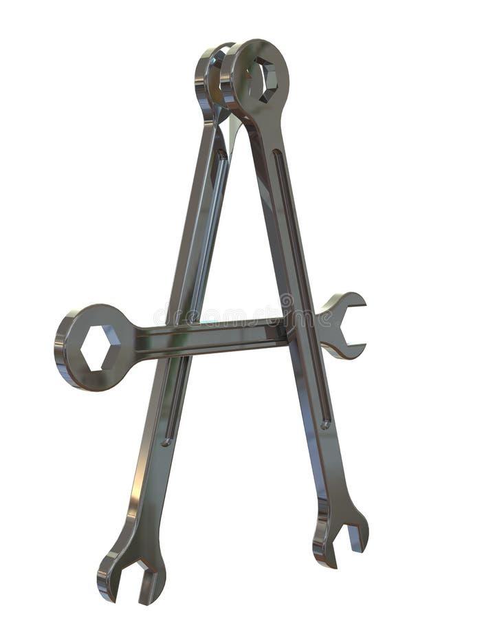 il meccanico 3D foggia la lettera A dell'alfabeto immagine stock libera da diritti