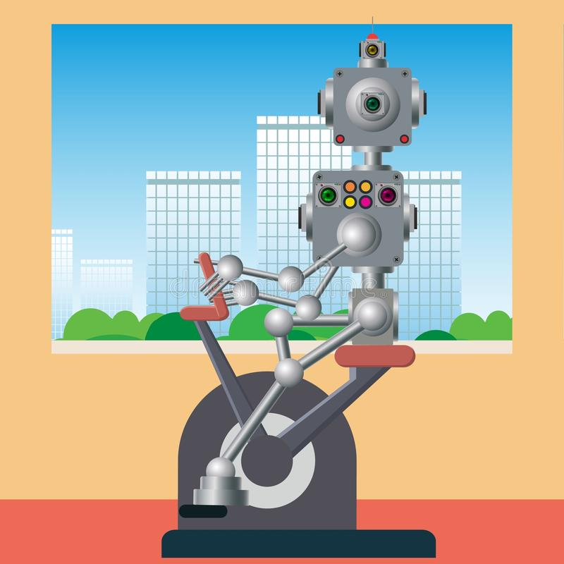 Il meccanismo cibernetico ? impegnato negli addestramenti illustrazione di stock
