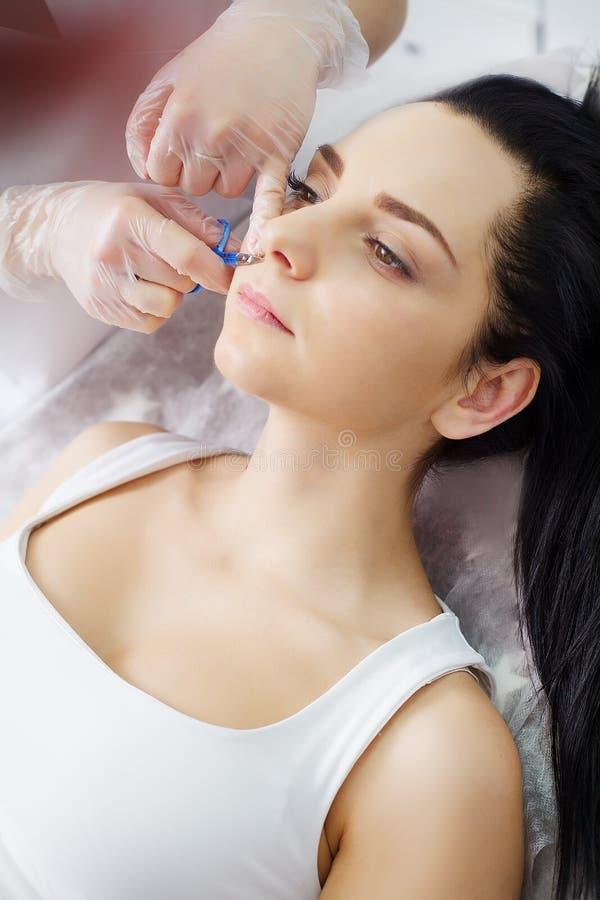 Il medico-cosmetologo fa il therap di Microcurrent di procedura fotografia stock