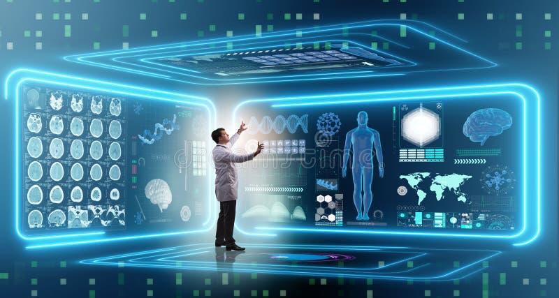 Il medico dell'uomo nel concetto medico della medicina futuristica immagini stock libere da diritti